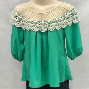 Areve green blouse with crochet neckline